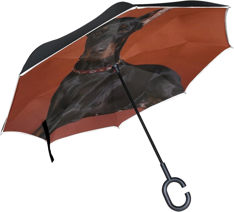 Rh Studio Ingreened Umbrella Doberman Dog Breed Red Background Large Double Layer Outdoor Rain Sun Car Reversible Umbrella