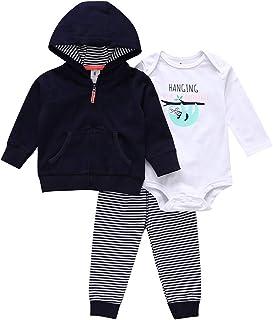 amropi Bebé Niña 3 Piezas Trajes Conjunto Calentar Capucha Abrigos y Mono Tops y Pantalones Chándal