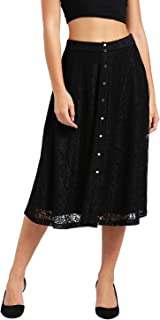Zink London Women's Front Placet Flared Skirt Black