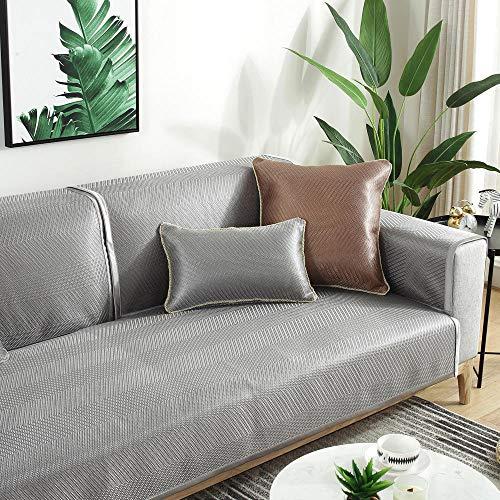 YUTJK Cubierta de sofá de Verano Fresco Monocromo,Resistente a Las Manchas para los Animales Domésticos Sofá Cover,Seccional Antideslizante Multisize Sofá Cover,Gris 2_70×210cm