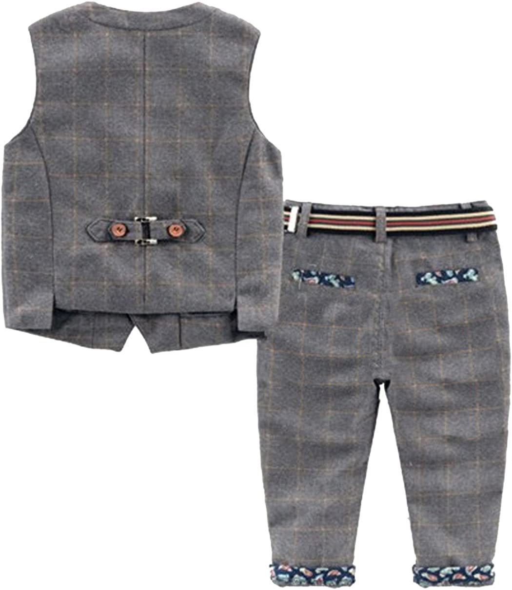 YUFAN Little Boys Casual Vest /& Pants 2 Pieces with Floral Pattern Gray /& Navy 2 Colors