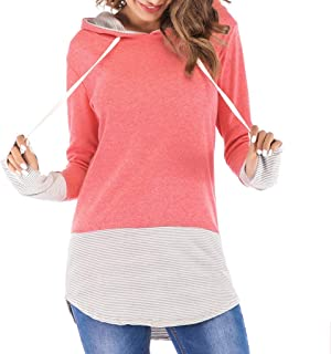 Women's Print Top Autumn and Winter Casual Hoodie Pure Color Sweatshirt Blouses Pullover