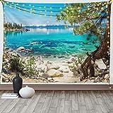 Lunarable Lake Tahoe Tapisserie Queen Size Türkis Waters of Paradise Strand Küste Schönheit friedliche Landschaft Wandbehang Tagesdecke Bettüberwurf Wanddekoration 223,5 x cm, himmelblau
