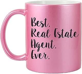 Mama Birdie Best Real Estate Agent Ever Coffee Cup/Tea Mug - Script Print (Glitter Pink)