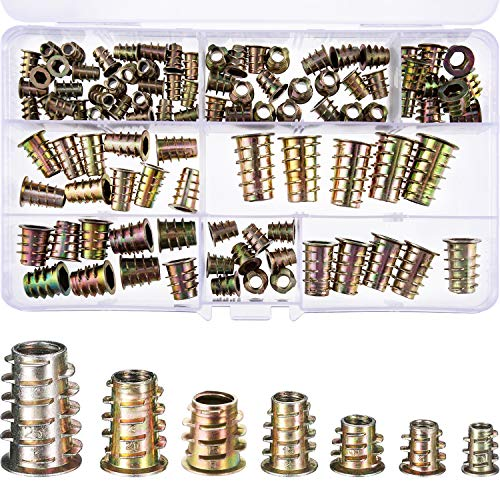 100 Piezas de Tornillo de Socket Hexagonal de Mueble de Aleación Zinc M4/ M5/ M6/ M8/ M10 Insertos de Rosca Kit de Herramienta de Surtido de Tuercas para Mueble de Madera (7 Tamaños)