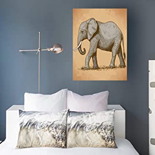 Alfredon Painting Canvas Wall Art Print Engraving Elephant Retro Style Wildlife Vintage Watercolor Stretched Wooden Frame Artwork 16 x 16 for Home Decor Bedroom Living Room Office