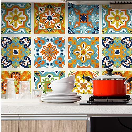 HaokHome 96006-1 Morocco Tiles Peel and Stick Wallpaper Removable Orange/Blue/White Kitchen backsplash Bathroom 17.7in x 9.8ft contactpaper