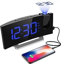 """Radio Despertador Digital Proyector, Mpow FM Radio Reloj Despertadores Digitales de Proyección, Alarma Dual con 4 Sonidos 3 Tonos, Puerto USB, Pantalla LED 5""""& 6 Brillos, 12/24 Hora, Snooze"""