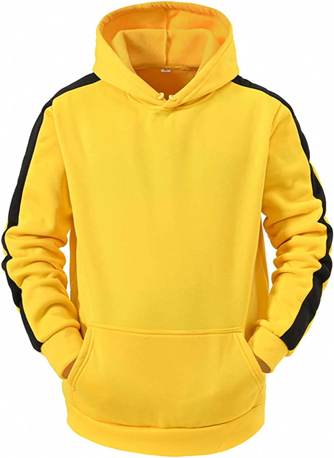 HONGJ Fall Hoodies for Mens, Winter Solid Color Drawstring Hooded Sweatshirts Sports Workout Casual Pullover with Pockets