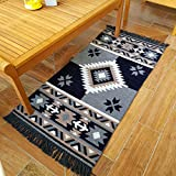 Secret Sea Collection,Mexican Area Rug, Double Sided, Washable (2' x 4', Grey-Black)
