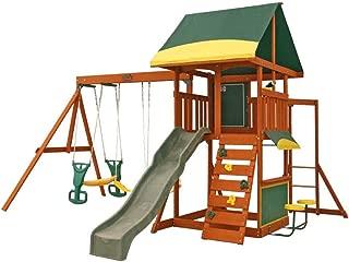 KidKraft F23235 Brookridge Kids Childrens Wooden Outdoor Swing Set Playset Playground