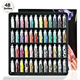 48 PCS 3D Nail Art Decoration Glitter Powder Sequins Set,Festival Chunky Glitter Face Body Hair Decoration Party DIY Craft Slime Making Kit, Lentejuelas Nail Salon Equipos para Navidad Halloween