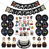 Birthday Decorations Balloon Kit Happy Birthday Banners Confetti Balloons Cake Cupcake Toppers Stickers Friends Theme TV Show Party Favor Supplies