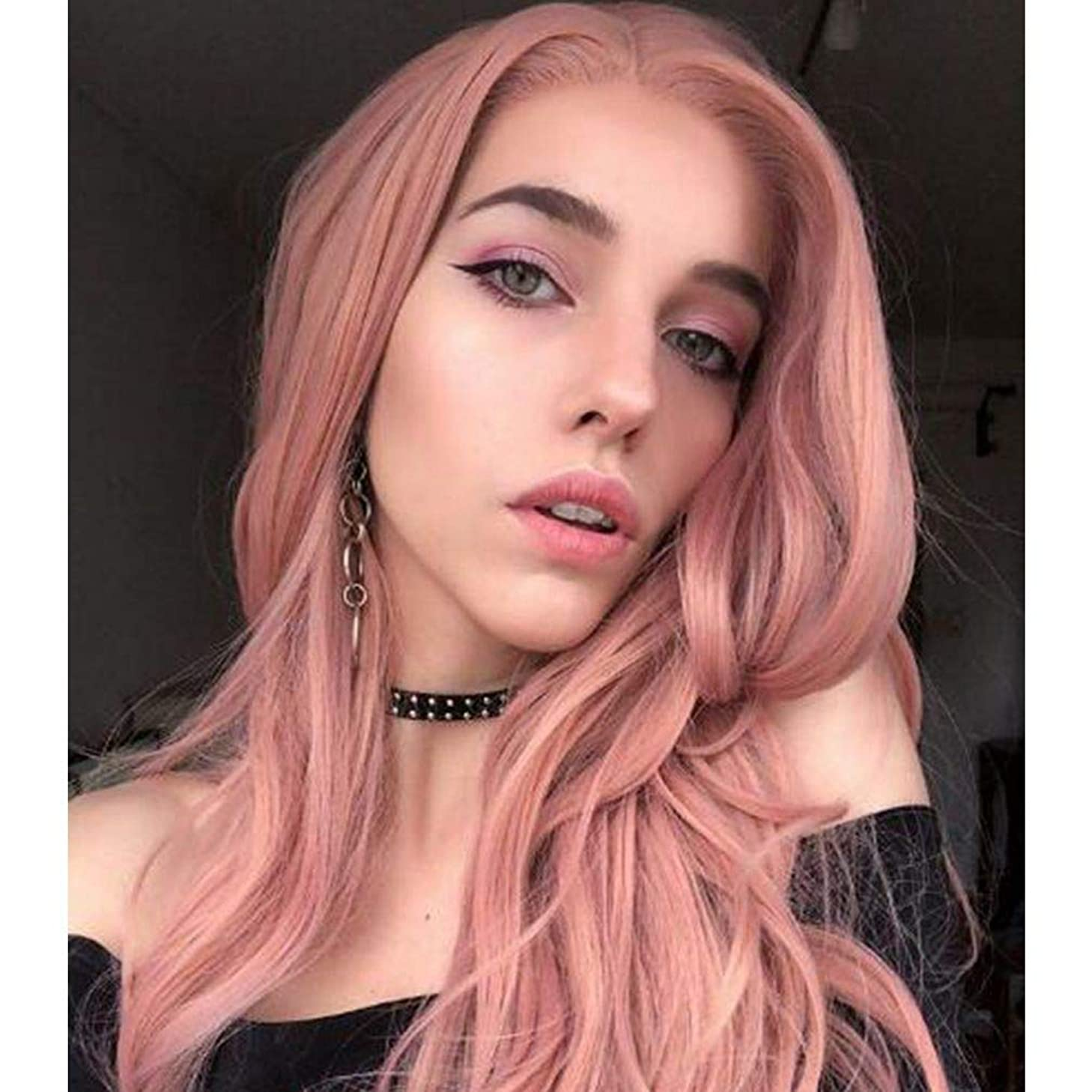Imstyle Pink Lace Front Wigs Long Natural Wave Rose Gold Synthetic Lace Wig for Women Natural Hairline Heat Resistant Fiber Wigs Glueless Replacement Wigs Half Hand Tied Lolita Wig 22 inch