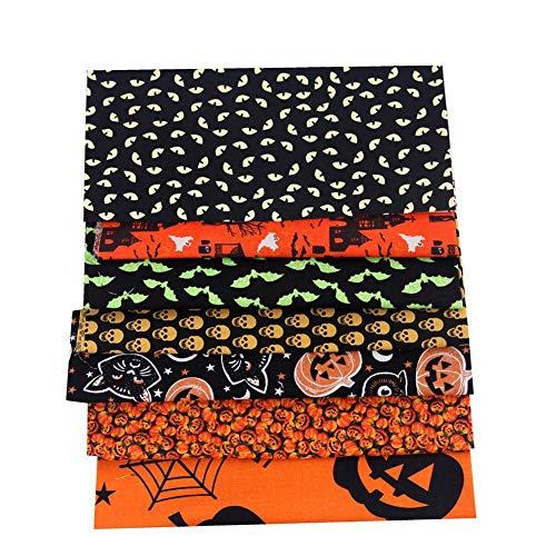 miraculocy 8PCS Halloween Baumwollstoff DIY Kürbis Schädel Fledermaus Muster Quilten Baumwolle Bastelstoff Zum Basteln Nähen Quilten Patchwork 25x25cm / 50x50cm