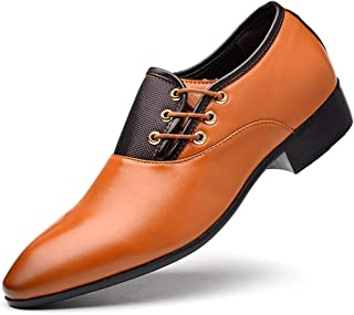 Men's Oxford Shoes Business Casual Formal Shoes (Color : Yellow, Size : 38)