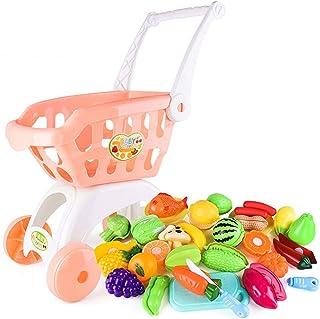 28 ピース/セット子供大型スーパーマーケットショッピングカートトロリープッシュ車のおもちゃバスケットシミュレーションフルーツ食品ふりプレイハウス女の子のおもちゃ