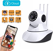 Wireless Home Security Camera 1080P, Baby Pet Monitor IP Camera Pan/Tilt/Zoom with 3 Months Free Cloud Storage, Two Way Audio, Motion Track, Night Vision, Remote Control for Home Surveillance Camera