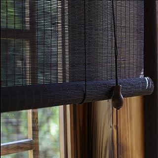 Cortina de bambu Negro Cortina Cortina Persiana Sombrilla Balcón Baño Cortina Ventilación de la Oficina,90 * 225cm