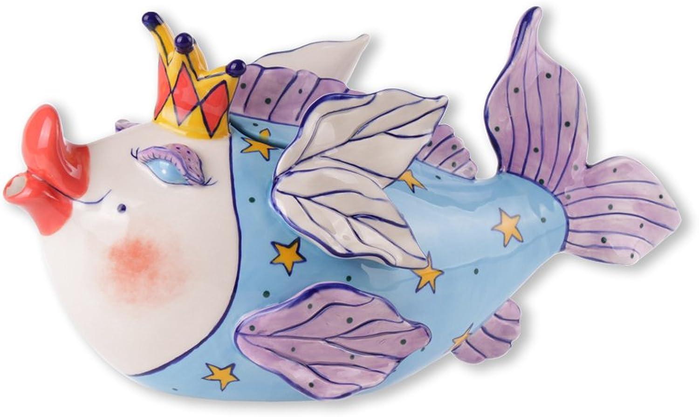 bluee Sky Ceramic Fairy Cod Mother Teapot, 12.5 x 5.5 x 6