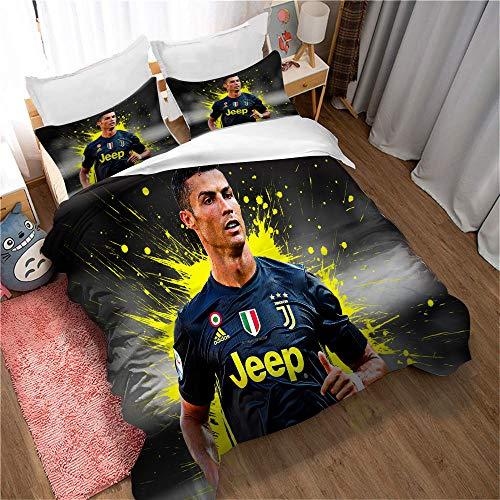 Meet Football Cristiano Ronaldo Literie Housse De Couette Et Taie d'oreiller, pour Enfants Adultes Lit Double Simple Multicolore, Hypoallergénique (Style 04,140x200cm(1.2MBed))