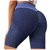Mallas Push Up para Mujer Leggings Malla Celular Pantalón Corta de Yoga Leggings con Bolsillos Butt Lifter Cintura Alta Deportivos para Yoga Pilates Fitness