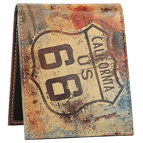 California Route 66 börse – dreifach gefaltete Lederbörse für Herren mit 2 Ausweisfenstern – langlebige Designs und Grafiken