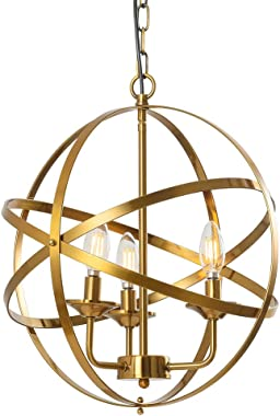 Popity home Rustic Industrial 3 Light Chandelier Hollow Out Metal Spherical Shade Brushed Gold Pendant Light, Hanging Pendant