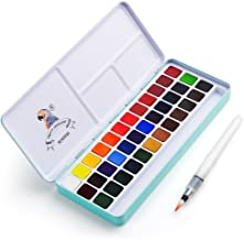 Lightwish MeiLiang Watercolor Paint Set, 36 Vivid Colors in Pocket Box with Metal Ring and Bonus Watercolor Brush, Perfect for Students, Kids, Beginners & More