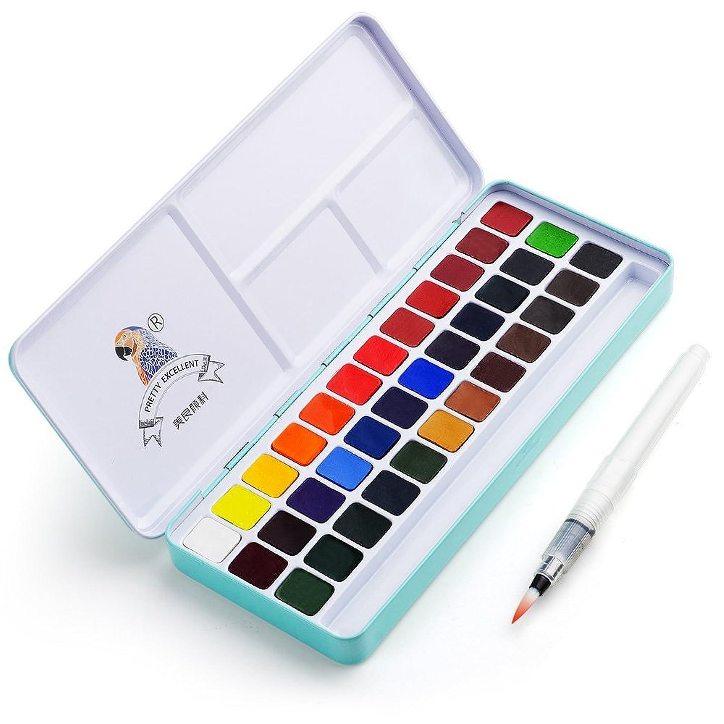 幸運なことにつかいます慣らすMeiLiang 固体水彩絵具 セット ブラシ付属 (36色) パレット アラビアガム