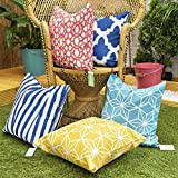 <span class='highlight'><span class='highlight'>Gardenista</span></span> Decorative Garden Cushion Cover Set | Waterproof Outdoor Cushion Covers | Soft Water - Resistant Fabric for Durability | Geometric Tile Collection (5 Pieces)
