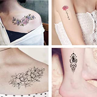 12 Sheets Temporary Tattoos Owl Words Flower Mermaid Animal for Women Tattoo Stickers for Arms Legs Shoulder Back Waterpro...