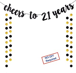 Cheers to 21 Years Gold Glitter Banner For Adult 21st Birthday Party Supplies Wedding Anniversary Party Decorations