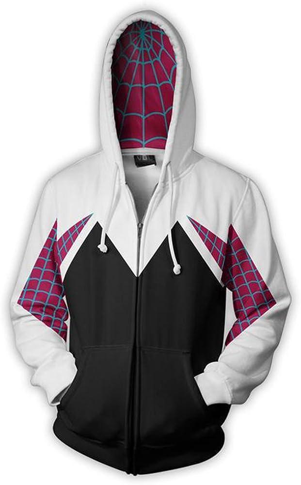 Wsysnl Cos Spider Gwen Superhero 3D Style Zipper Hooded Sweatshirt Kids/Unisex Adult