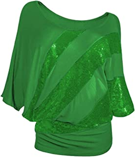 iTLOTL Ladies Sequin Causel T-Shirt Top Cold Shoulder Blouses for Women Plus Size