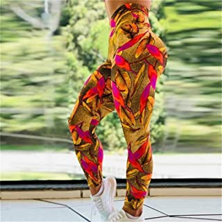 Jinqiuyuan Women's Leggings Sport Fitness Yoga Pants Hips High Waist Pushes Up Hips Print Sweatpants Yoga Pants Running Trouser (Color : Red, Size : M)