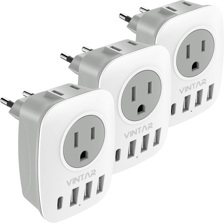 3-Pack European Travel Plug International VINTAR Adapter Regular Max 40% OFF store Powe