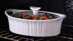 Corningware 1105935 French White III Oval Casserole with Glass Cover 2.5-Quart, Pack Of 2