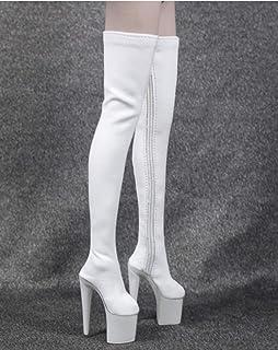 1/6 ブーツ 長靴 ロングブーツ ハイヒール フィギュア用 女性 フットパーツなし 全3色 (白)