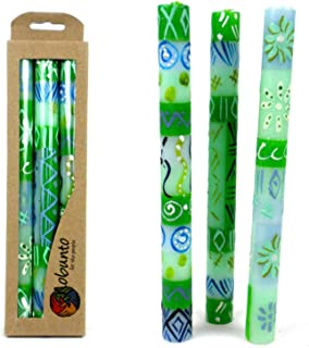 Global Crafts Set of Three Boxed Tall Hand-Painted Candles - Farih Design - Nobunto Candles