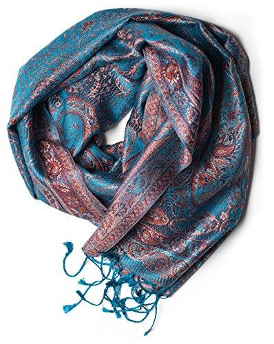 ufash Pashmina 100% Seidenschal aus Indien für Damen & Herren, Paisley Muster, 160 x 35 cm - Schal aus reiner Seide, Blau