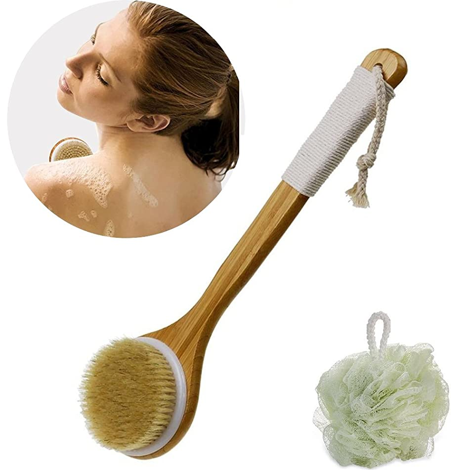 Justime Body Bath Brush Back Scrubber Sponge Natural Bristles with Long Wooden Handle for Dry Skin Brushing, Shower Cellulite and Exfoliating, Set of 2