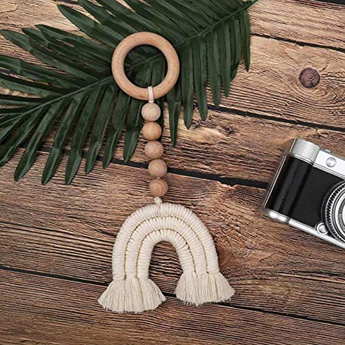 CHENSTAR Wood Bead Garland With Tassels, Nursery Room Wall Window Hangings Style Farmhouse Beads Country Beads Garland Decor Wall Hanging Blessing Beads Christmas Decoration
