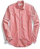 Amazon Brand - Goodthreads Mens Standard-Fit Long-Sleeve Gingham Plaid Poplin Shirt, Red/White, X-Large