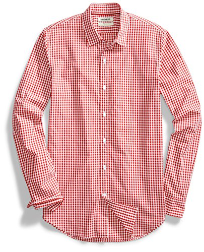 Amazon Brand - Goodthreads Mens Standard-Fit Long-Sleeve Gingham Plaid Poplin Shirt, Red/White, X-Large