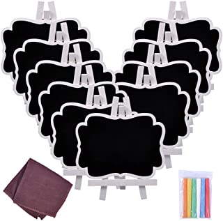 Chalkboard Sign, UCEC Mini Small Chalkboard Easel, 10 PCS Wood Framed Rectangle Message Board Signs Place Cards for Weddin...