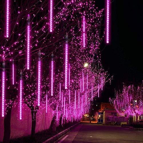 EEIEER Meteorschauer Regen Lichter Lichterregen Lichterkette 50cm 10 Tubes 540 LEDs IP65 Wasserdichte für Party Garten Hochzeit Weihnachten Xmas Außen Innen Dekoration (Lila)
