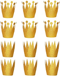 Shindel Gold Crown Hats, 12PCS Party Crown Hats Caps for Birthday Wedding Celebration