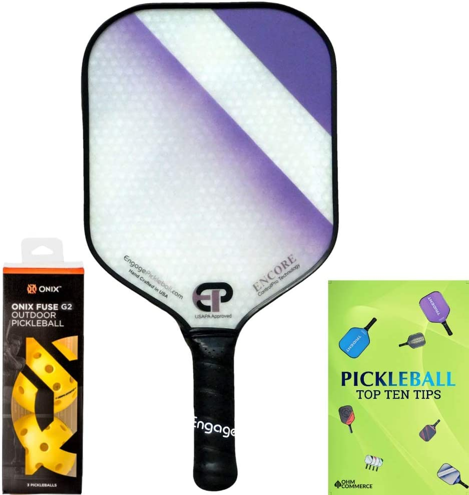 Engage Encore Pro Pickleball Paddle /& Onix 3-Pack Fuse G2 Pickleball Balls /& Free Pickle Ball Tips Sheet Racket and Balls for Beginner and Pro Players Premier Pickleball Set