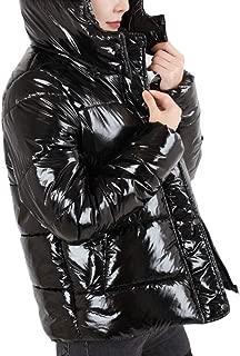WSPLYSPJY Women's Shiny Warm Quilted Hoodies Thicken Metallic Winter Down Jacket Coat
